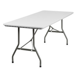 """Flash Furniture - 30""""W x 72""""L Granite White Plastic Folding Table - Commercial grade folding table that is designed to withstand the test of time! Flash Furniture's 30 in. W x 72 in. L Folding Table features a durable stain resistant blow molded top and sturdy frame. The blow molded top is super low maintenance and cleans easily. This 6 ft. table locks in place in a SNAP with the leg locking system for easy set-ups. This table can be used as a temporary seating solution or set-up in a permanent location for everyday use."""