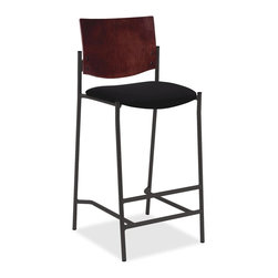 """Lorell - Lorell Cafe Barstool - Mahogany - Vinyl Black Seat - Wood Mahogany, Plywood Back - Barstool is ideal for cafes, cafeterias, breakrooms or any place you need an attractive, comfortable place to sit. 1-1/2"""" cushioned seat is upholstered in black vinyl. Wood back stained in Mahogany color offers sturdy support and is made of contoured plywood. Back frame is made of 7/8"""" round steel tubing with 16-gauge steel. Floor glides are nonmarring to protect your floors. Seat size is 17-1/2"""" wide x 17-1/2"""" deep x 29"""" high. Back measures 18"""" wide x 12"""" high. Pair with a Lorell Bistro Table (sold separately)"""