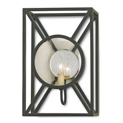 Currey and Company - Beckmore Wall Sconce - A selection from The Lillian August Collection, the Beckmore Wall Sconce blends industrial with metropolitan. Stylish and durable, the Beckmore is certified for damp locations and finished in Old Iron. The mirrored glass reflector braodcasts the Beckmore's brilliance through seeded glass with dazzling effects.