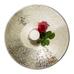 Vintage Maya - Silver Mosaic Tiled Platter - Let your table sparkle with this eye-catching platter. The exquisite glass mosaic dish shines no matter how you use it. In fact it's so beautiful, you may choose to leave it empty.