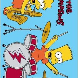 """Fun Rugs - Area Rug: The Simpsons Rock Stars Blue 39"""" x 58"""" - Shop for Flooring at The Home Depot. You don t need to play in a band to rock your room with this awesome rug! But if you are in a band or simply want to learn how to play an instrument this will give you inspiration to rock on. Join their awesome duo band. No need to play the baritone sax like Lisa or the drums like Bart, just give any instrument a try and have fun! Fun for anyone to have anywhere he or she pleases. Visually appealing with its colors, this rug can just about go anywhere. Light/sky blue background, multi-colored. Tufted rug, not machine washable."""