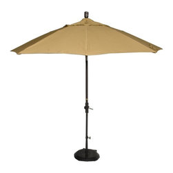 Phat Tommy - Market Patio Umbrella in Brass - The Phat Tommy 9 Foot Marenti Wood Market Umbrella is part of the Outdoor Oasis Line. Sunbrella fabric is more naturally fade resistant under prolonged sun exposure, so your shade solution stays beautiful for years of use and enjoyment.