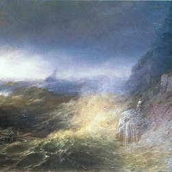 """Ivan Constantinovich Aivazovsky Tempest on the Black Sea   Print - 16"""" x 24"""" Ivan Constantinovich Aivazovsky Tempest on the Black Sea premium archival print reproduced to meet museum quality standards. Our museum quality archival prints are produced using high-precision print technology for a more accurate reproduction printed on high quality, heavyweight matte presentation paper with fade-resistant, archival inks. Our progressive business model allows us to offer works of art to you at the best wholesale pricing, significantly less than art gallery prices, affordable to all. This line of artwork is produced with extra white border space (if you choose to have it framed, for your framer to work with to frame properly or utilize a larger mat and/or frame).  We present a comprehensive collection of exceptional art reproductions byIvan Constantinovich Aivazovsky."""
