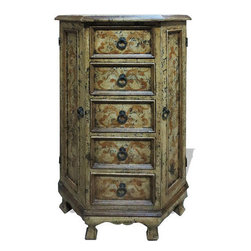 Koenig Collecion - Old World Tall Vanity Cabinet, Distressed - Tall Vanity Cabinet, Distressed with Espresso and Scrolls
