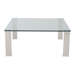 Euro Style - Beth Square Coffee Table - How can something so simple make such a wonderful statement? Ask Beth! Tempered glass and polished stainless steel together in a wide variety of shapes and sizes. Never distracting. Always pleasing.