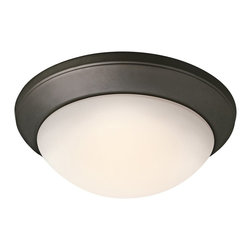 BUILDER - KICHLER 8881OZ KICHLER Transitional Flush Mount Mount Ceiling Light - A warm Olde Bronze finish compliments the contemporary shape of this Kichler Lighting flush mount ceiling light. The look is completed by a satin etched cased opal twist on glass shade. U.L. listed for damp locations. 90&#176: C wire rated.