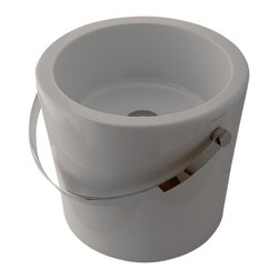 Scarabeo - Round White Bucket Ceramic Vessel Sink, No Hole - Contemporary style above counter round white ceramic sink. Luxurious vessel bathroom sink without overflow. Made in Italy by Scarabeo.