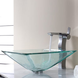 Kraus - Kraus Clear Aquamarine Glass Vessel Sink with Sonus Faucet - Add a touch of elegance to your bathroom with a glass sink combo from Kraus.