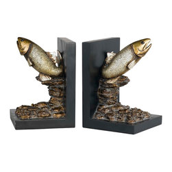 Cal Lighting - Cal Lighting TA-677Bd Trout Bookends - Trout Bookends