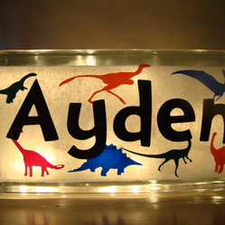Glass Block Nightlight, Dinosaurs by Vinyl Signs 4 Him