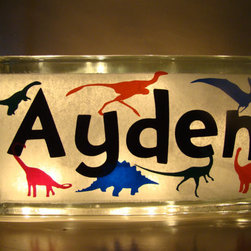 Glass Block Nightlight, Dinosaurs by Vinyl Signs 4 Him - Make sure your child's room is properly personalized (and properly prehistoric) with this glass block nightlight.