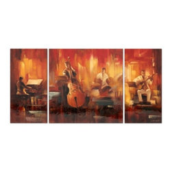 YOSEMITE HOME DECOR - Musicality Art Painted on Canvas - Musical set of three canvases painted in jeweled tones of red, orange, and brown accented with metal elements and a lacquered finish.