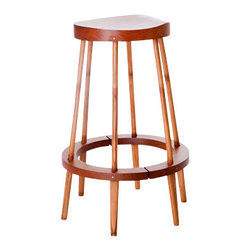 "El Dot Designs - Bamboo Perch Stool - The solid, hand shaped Rosewood seat of this 25"" high Perch Stool is comfortable and warm. The Bamboo legs come from a single piece, split into 6 and hand shaped to hold the Rosewood ring."