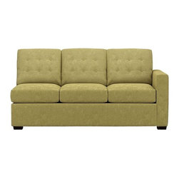"Allerton Left Arm Sectional Queen Sleeper Sofa - Contemporary sleeper plays off mid-century tradition with bold squared-off lines, clean track arms and a button tufted back. Inside, it's all 21st century. Innovative wood frame with spring-loaded mechanism and double padded handles make setup a breeze. And the seat and back cushions easily lift off with new snug fit foam roll attachments. Luxurious 5""-thick high-density foam mattress is treated with stain-repellent and anti-microbial protection. Hardwood legs are finished a dark walnut. Pairs with Right Arm Corner Sofa to create a sectional."