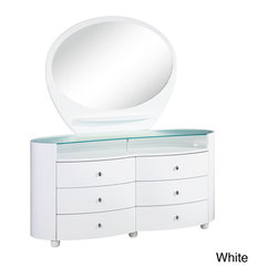 None - Emily/ Evelyn High Gloss 6-drawer Dresser - Elegantly add storage space to your bedroom with this curvy six-drawer dresser. Delicately shaped and crafted from high-quality materials,this dresser features a high-gloss shine and a tempered glass top,and it is also available in two finishes.
