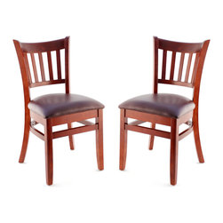 Seating Masters - US Made Vertical Slat Chair- Set of 2 (Mahogany), Wine Vinyl Seat - The Premium Wood Ladder Back Chair offers a traditional design which will be sure to provide your customers with the comfort they desire.