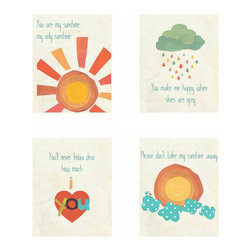 """Rebecca Peragine Inc / Children Inspire Design - """"You Are My Sunshine"""" Children's Wall Art Prints, Set of 4, 8""""x10"""" - The most famous children's song is now available as adorable gender neutral wall art to remind your wee ones how loved they truly are."""