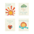 Rebecca Peragine Inc / Children Inspire Design - 'You Are My Sunshine' Prints, Set of 4 - The most famous children's song is now available as adorable gender neutral wall art to remind your wee ones how loved they truly are.   Set of four 8x10 wall art prints