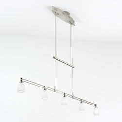 Holtkoetter - Holtkoetter | Low-Voltage Halogen Chandelier No. 5515/5 - The height of this low-voltage pendant is easily adjusted with the hand-polished counter-weight. Five 20-Watt Halostar bulbs by Osram and hand-blown glass provide soft, even lighting. This fixture utilizes an electronic, line-voltage (120 V input) to low-voltage (12 V output) transformer by Lightech. If you are planning to use a dimmer with this fixture, we recommend using a Lutron ELV (electronic low-voltage) style dimmer. Includes a 175-Watt transformer, allowing for a 20-Watt maximum per bulb. Design and utilities patent pending.Holtkoetter manufacturers all of its components in their German factories and performs the final assembly in the USA. Select from Satin Nickel, Brushed Brass and Hand-Brushed Old Bronze finishes with 15 different glass shade options.