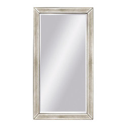 Bassett Mirror - Floor Mirror in Antique Silver Painted Finish - Rectangular shape. Leaning mirror. Decorative mirror. 44 in. L x 79 in. H (89 lbs.)