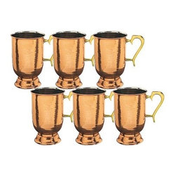 Old Dutch 16 oz. Solid Copper Brass Hammered Tankard with Brass Handle - Set of - Have your friends over for a drink with the sophisticated Old Dutch 16 oz. Solid Copper Brass Hammered Tankard with Brass Handle - Set of 6. This set of 6 solid copper tankards are perfect for enjoying your favorite brew after a long day. These handsome hammered steins feature a solid copper construction with a protective, tarnish-resistant coating, nickel linings and a comfortable solid brass handles. About Old Dutch InternationalFamous for their copperware, Old Dutch International, Ltd. has been supplying the best in imported housewares and giftware to fine retailers throughout America since 1950. They offer a large assortment of housewares, including bakers racks, trivets, and pot racks in materials like chrome, colorful enamel, and stainless steel. Other product lines include wine racks, serving trays, specialty cookware, clocks, and other home accessories. Old Dutch warehouses and distributes their products from a 30,000 square foot facility in Saddle Brook, N.J.