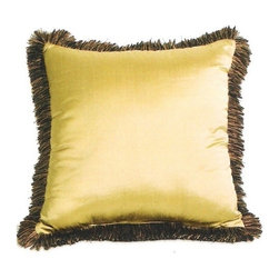 "CCCC-P-889 - Silk Suede with Tassels 20"" x 20"" Throw Pillow with Brush Fringe Trim - Silk suede with tassels 20"" x 20"" throw pillow with brush fringe trim. Measures 20"" x 20"" made with a blown in foam and also available with feather down inserts at additional costs, search for down insert upgrade to add the up charge to your order. These are custom made in the U.S.A and take 4- 6 weeks lead time for production."