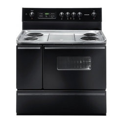 """Frigidaire - FFEF4017LB 40"""" Freestanding Electric Range with 4 Coil Elements  5.4 cu. ft. Ove - Cooking large meals is simple with this electric range that features a main oven capacity of 37 cu ft and a SpaceWise side oven with a 17 cu ft capacity The self-cleaning feature includes quick-clean and delay-clean settings for easy cleanup"""