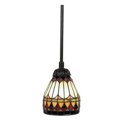 """Quoizel - Quoizel TF1541VB Vintage Bronze Tiffany Renaissance Single Light Mini - Specifications:Shade Width: 6 inchesShade Height: 6 inchesOverall Height: AdjustableInncludes three 12"""" downrods that can be combined for installationFeatures:Steel rods and frameUses one 100 watt A19 Medium Base, Bulb Not SuppliedFeatures a stunning Vintage Bronze FinishItem Weight: 3.50 LBS Installation InformationFixture includes 10 Feet of chord for easy installation at varying hanging heightIncludes two 6 inch and two 12 inch stems for installation at varying hanging heightCeiling Canopy Measures 5"""" in Diameter"""