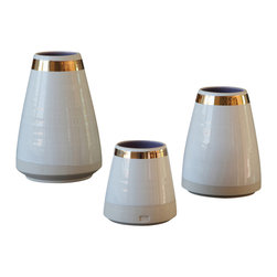 Robert Siegel Studio - Apex Vase Set with Thick Gold Collar - These handmade wheel thrown  porcelain vases from the 2014 Beaux Collection are made to order in limited editions seasonally.  Glazed lilac interior with a rich gloss white exterior, these vases are finished with a hand painted gold luster collar.