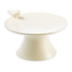 Ceramic White Bird Cupcake Stand - Simple in its form, but accented with the whimsical and elegant addition of a graceful little avian peering at your offerings, the White Bird Cupcake Stand elegantly reinterprets a traditional motif in three dimensions to meet the trend for the streamlined, graceful forms of birds in artisan tableware.  The designer cake plate is snow white to set off every dessert with polished presentation.