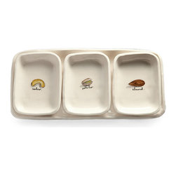 Tray With 3 Dishes - Nuts - Entertaining for cocktails is effortless when you have the Nuts Tray with Three Dishes on hand.  Attractively labeled with illustrations for cashews, pistachios, and almonds on the inside and neatly confined by their tray, these dishes look just as festive empty as full.  The look is suited for all seasons, but great for summer-evening gatherings and energetic holidays.