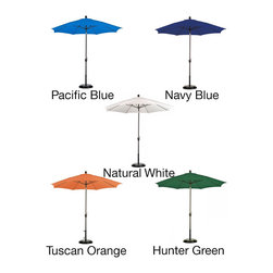 ESCADA - Poly Aluminum Crank and Tilt 9-foot Patio Umbrella with Base - Keep cool in the shade of this handsome 9-foot fiberglass umbrella. This unique piece features a beautiful UV protected poly fabric shade, a 50-pound base, and a convenient push tilt mechanism.
