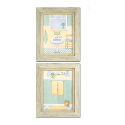 Uttermost - Uttermost Beach Bath I, II (Set of 2) - Uttermost Summer Chorus I, II is a part of Grace Feyock Collection by Uttermost These prints are accented by olive green inner mats and sand colored, linen outer mats. Frames have a black satin finish with matching inner fillets. Art Object (2)