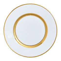 Raynaud - Odyssee Gold Dinner Porcelain Plate - This collection features relief shapes and generously colored and gilted decorations. Add a glittering distinction to your elegant table.