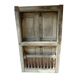 Mogul Interior - Distressed Haveli Architectural Window Solid Rustic Teak India Furniture - All of our items are one off pieces of vintage, antique or just lovely furniture which have been lovingly restored to create the original pieces that we sell.