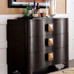 """""""Cayman"""" Chest - The """"Cayman"""" Chest feels exotic with its alligator texture.  Three roomy drawers offer great storage.  Large knobs add a touch of whimsy.42""""W x 16""""D x 32""""T."""