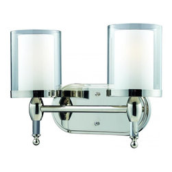 Two Light Chrome Matte Opal Glass Inside And Clear Outside Glass Vanity - This two light vanity fixture provides the ultimate clean modern look, due to its sleek chrome finish and use of combination-layered shades with clear glass on the outside and matte opal glass on the inside. To enhance this already elegant look, crystal columns compliment each shade, providing the unsurpassed elegance and sophistication.
