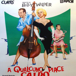 Consigned 1964 Original Italian Movie Poster, Some Like it Hot - This poster was produced for the Italian release of the movie, and is just back from the linen backer. It is in excellent condition.