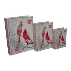 Cheung's - Set Of 3 Book Box W/ Vintage Cardinal Duo Paisley Print Book Spine Printed Vinyl - Nested for Space Saving. Felt Lining.