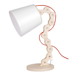 ParrotUncle - Unique Wood Chain Style Base Reading Desk Lamp - For a desk lamp, we need easier adjustment for our reading need. This wood chain style table lamp is perfect for our requirement. Each chain part can be easily turned to the right place. Standing on your table will provide you soft light, and show your stylish life as well.