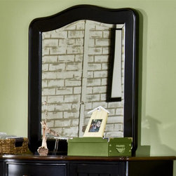 American Woodcrafters - Weekends Youth Vertical Mirror - Black with rub through. Mahogany solids and birch veneers. Beveled glass with radius corners. Thick, gently curved frame surrounds the mirror. Mirror supports match finish. 34 in. W x 1.25 in. D x 38 in. H (34 lbs.)The bold, whimsical style of the Weekends Collection is well-suited for your child or teens bedroom.  The black with rub through finish goes with everything  from brightly-colored toys to inspiring artwork.  The Weekends Vertical Mirror is made of mahogany solids with birch veneers in black with rub-through. The thick, gently curved frame surrounds the beveled glass mirror.