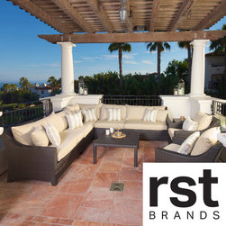 RST Brands - RST Slate 9-Piece Corner Sectional Sofa and Club Chairs Set - Outdoor sectionals are a great addition to your outdoor area to create an intimate setting for a number of guests.