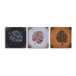 Leaf rubbing trio Hand Painted 3 piece canvas set - Leaves symbolize the peaceful spirit of nature, and this group of three paintings captures this concept so beautifully. In three different color combinations, these relief-like works will impart a sense of calm to your walls. Hang them above your tub for a meditative effect.