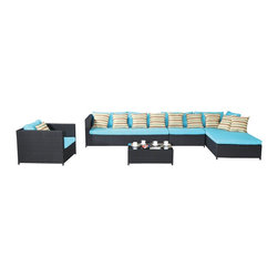 Fine Mod Imports - Garden 7-Piece Outdoor Rattan, Espresso with Blue Cushion - The Garden sofa sectional set comes assembled and are made from all-weather resin wicker and produced to fulfill your needs for high quality. Unlike many other wicker products on the market, resin wicker will not fade, shrink, loose its strength or snap. The aluminum is lightweight and rust-free. The cushions that come with the patio sets underline the elegance of the patio furniture while providing permanent comfort.