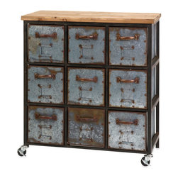 Franklin Steampunk Dresser - Distressed metal and natural wood are a handsome combination. The Franklin Steampunk Dresser is a distinguished piece, incorporating natural wood elements with an aged industrial feel. If you want to add some texture to your bedroom, this dresser makes for a striking aesthetic.