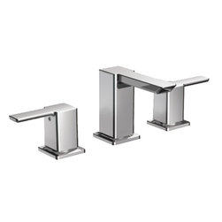 Moen - Moen TS6720 90-Degree Series Two-Handle Low Arc Bathroom Faucet - With its ultra-contemporary styling, the 90 Degree collection brings a sharp, clean look to the home.