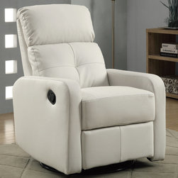 """Monarch - White Bonded Leather Swivel Glider Recliner - This contemporary design accent chair combines 3 functional elements, it swivels, it glides, and it reclines, ensuring that you are always in a comfortable position. This white bonded leather chair with a padded head rest was designed for ultimate comfort. Whether reading a book or watching sports this will be the chair that everyone will want to sit on. The easy glide motion and the contemporary design makes it a chic and fashionable addition for your den, bedroom, living room or basement. It truly is a chair for any room in your home.; Material: PU, Wood, Foam; Dimensions: 28.5""""L x 36""""W x 40""""H; Seat depth: 19.75""""; Seat height from floor: 20"""""""