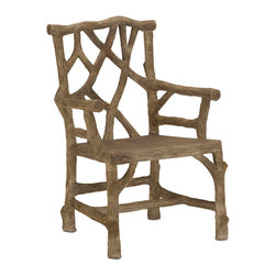 "Currey & Co - Currey & Co 2706 Woodland Faux Bois Arm Chair - This Currey & Co 2706 Woodland Faux Bois Arm Chair can create beauty and comfort seating in any garden or patio setting. Made of concrete, it is especially durable and molded to resemble tree branches. Afterward, a brown finish is applied in ""Faux Bois"" or a false wood look that looks better with time and weathering. The chair is a generous 26-inches in width to comfortably accommodate almost any size."
