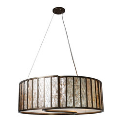 """Varaluz - Traditional Varaluz Affinity Natural Capiz Shell Drum Pendant Light - Each sustainable Capiz shell that makes up the shade of this incredible drum pendant light has a low VOC champagne finish and natural color variations. The reclaimed bronze frame is finished in """"new bronze"""" and plays beautifully against the glistening texture of the Capiz shells. When lit the Capiz """"towers"""" evoke a skyline set in a glowing sky. A wonderful environmentally sound design from Varaluz. Sustainable Capiz shell with low VOC champagne finish. Reclaimed bronze frame. Acrylic diffuser. Takes four 100 watt bulbs (not included). 24"""" wide. 10"""" high. Comes with 10' of cable.  Sustainable Capiz shell with low VOC champagne finish.    Reclaimed bronze frame.   Acrylic diffuser.   Takes four 100 watt bulbs (not included).   24"""" wide.   10"""" high.   Comes with 10' of cable."""