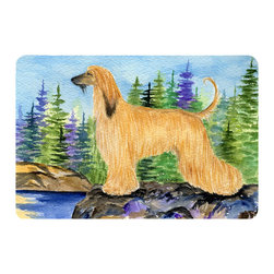 Caroline's Treasures - Afghan Hound Kitchen or Bath Mat 20 x 30 - Kitchen or Bath Comfort Floor Mat This mat is 20 inch by 30 inch. Comfort Mat / Carpet / Rug that is Made and Printed in the USA. A foam cushion is attached to the bottom of the mat for comfort when standing. The mat has been permanently dyed for moderate traffic. Durable and fade resistant. The back of the mat is rubber backed to keep the mat from slipping on a smooth floor. Use pressure and water from garden hose or power washer to clean the mat. Vacuuming only with the hard wood floor setting, as to not pull up the knap of the felt. Avoid soap or cleaner that produces suds when cleaning. It will be difficult to get the suds out of the mat.